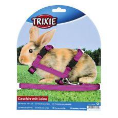 Postroj a vodítko pro králíky – plastové zapínání, fialová