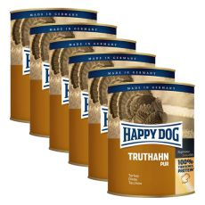 Happy Dog Pur - Truthahn/krůta, 6 x 800g, 5+1 GRATIS