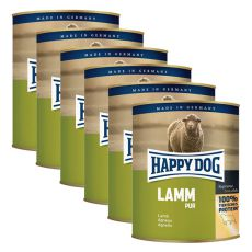 Happy Dog Pur - Lamm/jehněčí, 6 x 800g, 5+1 GRATIS