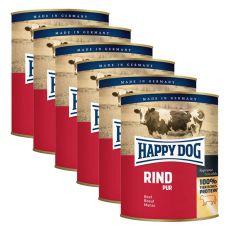 Happy Dog Pur - Rind/hovězí, 6 x 800g, 5+1 GRATIS