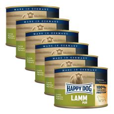 Happy Dog Pur - Lamm/jehněčí, 6 x 200 g, 5+1 GRATIS