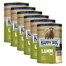 Happy Dog Pur - Lamm/jehněčí, 6 x 400 g, 5+1 GRATIS
