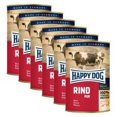 Happy Dog Pur - Rind/hovězí, 6 x 400g, 5+1 GRATIS