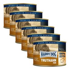 Happy Dog Pur - Truthahn/krůta, 6 x 200g, 5+1 GRATIS