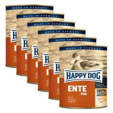 Happy Dog Pur - Ente/kachna, 6 x 800g, 5+1 GRATIS
