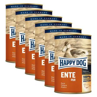 Happy Dog Pur - Ente/kachna, 6 x 400g, 5+1 GRATIS