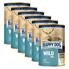 Happy Dog Pur - Wild/zvěřina, 6 x 400 g, 5+1 GRATIS