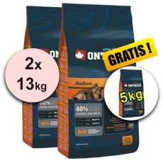 Ontario Adult Medium 2 x 13 kg + 5 kg GRATIS