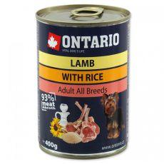 Konzerva ONTARIO pro psa, jehněčí, rýže a olej - 400 g