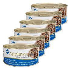 Applaws Cat - konzerva pro kočky s tuňákem a krabem, 6 x 70 g