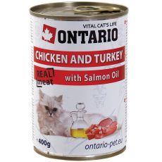 ONTARIO Konzerva pro kočku - kuřecí, krůtí a olej - 400 g