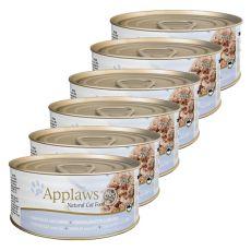 Applaws Cat - konzerva pro kočky s tuňákem a sýrem, 6 x 70 g