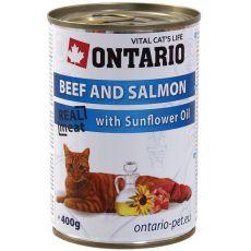 ONTARIO Konzerva pro kočku - hovězí, losos a olej - 400 g