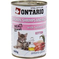 ONTARIO Kitten Konzerva - kuřecí, krevety, rýže a olej - 400 g