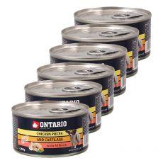 Konzerva ONTARIO Junior pro psa, kuřecí kousky + chrupavky, 6 x 200g