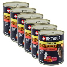Konzerva ONTARIO pro psa, zvěřina, brusinky a olej - 6x800 g