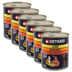 Konzerva ONTARIO pro psa, jehněčí, rýže a olej - 6x800 g
