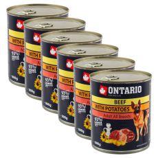 Konzerva ONTARIO pro psa, hovězí, brambory a olej - 6 x 800g