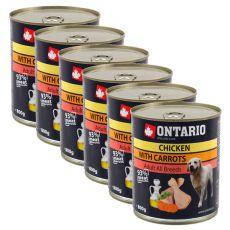 Konzerva ONTARIO pro psa, kuřecí, mrkev a olej - 6x800 g