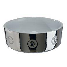 Keramická miska pro psy, stříbrná - 0,8 l