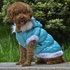 Bunda pro psa s odepínací kapucí - modrá, S