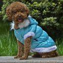 Bunda pro psa s odepínací kapucí - modrá, M