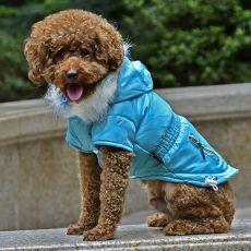 Bunda pro psa s imitací kapes na zip - modrá, M