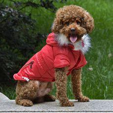 Bunda pro psa s imitací kapes na zip - červená, S
