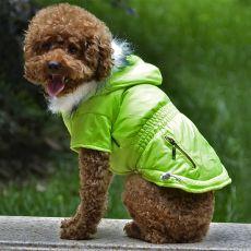 Bunda pro psa s imitací kapes na zip - neonově zelená, S
