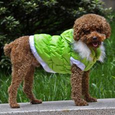 Bunda pro psa s odepínatelnou kapucí - zelená, XS