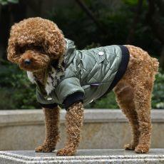 Bunda pro psa s kožešinkou - zelená, L