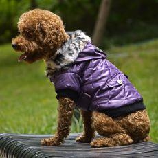 Bunda pro psa s kožešinkou - fialová, XL