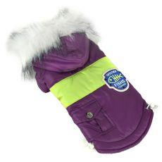 Bunda pro psa s nášivkou - fialová, XL