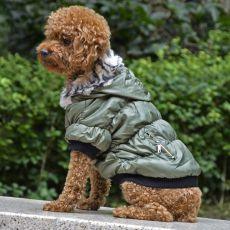 Bunda pro psa s černým lemováním - zelená, XL