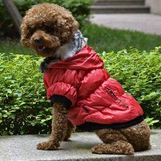 Bunda pro psa s černým lemováním - červená, M