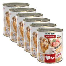 New BEWI DOG konzerva – Drůbež - 6 x 800 g, 5+1 GRATIS