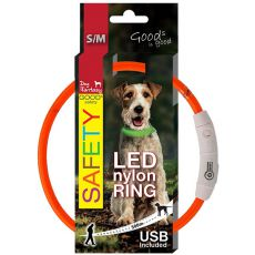Obojek Dog Fantasy LED nylon - oranžový, 45 cm