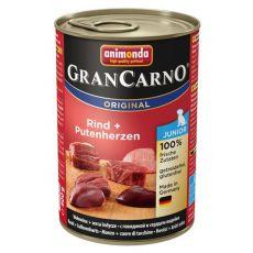 Konzerva GranCarno Original Junior hovězí maso a krůtí srdce - 400 g