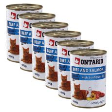 ONTARIO Konzerva pro kočku - hovězí, losos a olej - 6 x 400g