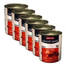 Konzerva GranCarno Original Adult hovězí maso a kuře - 6 x 800 g