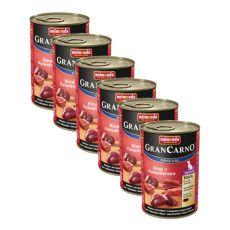 Konzerva GranCarno Original Senior hovězí maso a krůtí srdce - 6 x 400 g