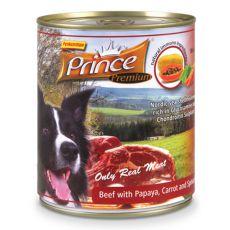 Konzerva PRINCE Premium – hovězí s papájou, mrkví a špenátem 800 g