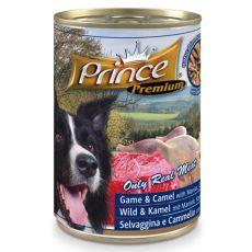 Konzerva PRINCE Premium – zvěřina, velbloud a maniok s mrkví a hráškem 400 g
