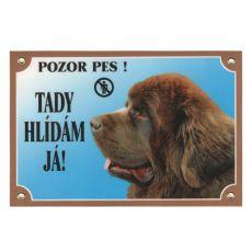 Výstražná tabulka - Novofundlandský pes hnědý