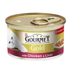 Konzerva Gourmet GOLD - kousky ve šťávě s kuřecím a játry, 85 g