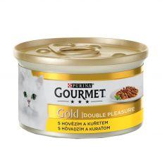 Konzerva Gourmet GOLD - grilované a dušené kousky masa s hovězím a kuřetem, 85 g