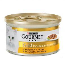 Konzerva Gourmet GOLD - grilované a dušené kousky masa s králíkem a játry, 85 g