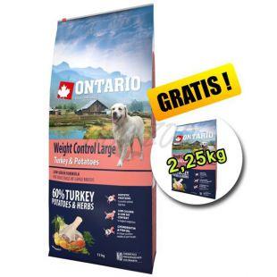 ONTARIO Weight Control Large turkey & potatoes 12kg + 2,25kg GRATIS