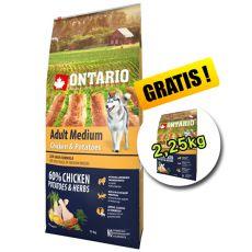 ONTARIO Adult Medium chicken & potatoes 12kg + 2,25kg GRATIS
