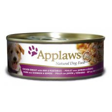 Konzerva APPLAWS dog kuřecá maso, šunka a zelenina 156 g